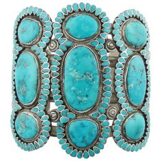 Frank Dishta, Silver and Turquoise Bracelet, circa 1950 | From a unique collection of antique and modern miscellaneous jewelry at https://www.1stdibs.com/furniture/more-furniture-collectibles/miscellaneous-jewelry/