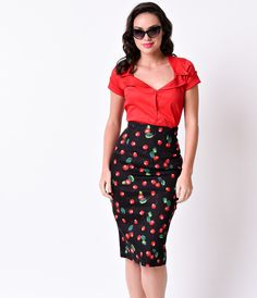 Collectif 1950s Black & Red Cherry Fiona High Waist Pencil Skirt