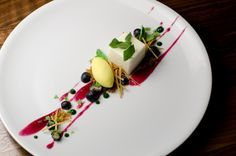 Feta Cheesecake, Corn Ice Cream, Basil Chips, and Blueberry Compote