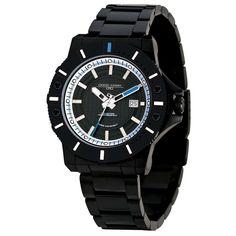 Jorg Gray JG9500-24 Men's Black Swiss Rhonda Movement Stainless Steel Watch Blue/White Accents