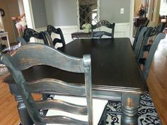 @Kate Shortridge  Oak Dining Room Set Makeover : after with chalk paint. recipe online