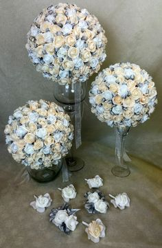 Hand Tied White Champagne Foam Rose Flowers Wedding Bridal Bouquet Set