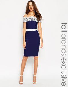 Image 1 ofPaper Dolls Tall Lace Bardot Pencil Dress