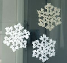 Bobbin lace snowflakes.                                                       …
