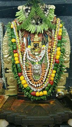 Blissful darshan of Badami Banashankari Devi adorned with vegetables on the eve of Shakambhari Purnima Sai Baba Pictures, God Pictures, Ganesh Photo, Hindu Deities, Hinduism, Jai Hanuman, Mother Goddess, Goddess Lakshmi, Hindu Art