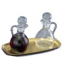 Plain Glass Cruet Set with Brass Tray