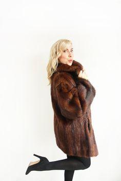 Vintage 1960's/70's mahogany brown soft musquash fur coat by TurquoiseFlamingo…
