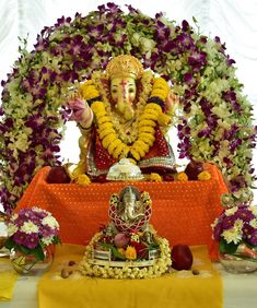May Lord Ganesha always remove obstacles from your life. Diwali Decorations, Festival Decorations, Flower Decorations, Diy Flowers, Ceremony Decorations, Flower Decoration For Ganpati, Ganpati Decoration Design, Ganesh Chaturthi Decoration, Happy Ganesh Chaturthi Images
