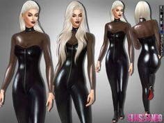 The Sims Resource: 257 - Desislava latex catsuit by sims2fanbg • Sims 4 Downloads