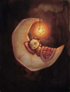 Art illustration of young boy sleeping on the crest moon with a night light star hanging from the tip of the moon Sun Moon Stars, Sun And Stars, Illustrations, Art And Illustration, Art Fantaisiste, Good Night Moon, Night Night, Moon Magic, Beautiful Moon