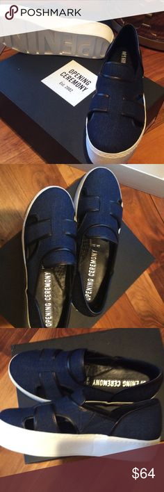 Brand new shoes, never worn, are too small Designer woven denim sneaker with white 1  1/2 inch platform and slight black trim in denim. Lot of  look for the money. Up your sneaker game! Opening Ceremony Shoes Sneakers