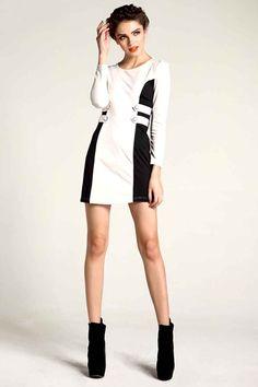Strap embellished color block dress