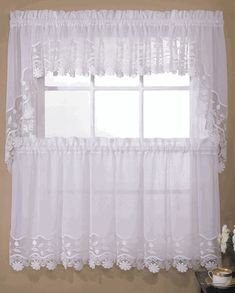 Seville Curtains, Style #263 Embroidered Organza & Macrame By Lorraine Home Fashions - White Curtains
