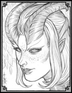 Rowena Long (D&D Edition - tiefling, f, warlock 2014 My first character for edition was a male tiefling warlock, Whelan Long (named . Character Concept, Character Art, Character Design, D D Characters, Fantasy Characters, Tiefling Female, Angels And Demons, Realistic Drawings, Character Portraits