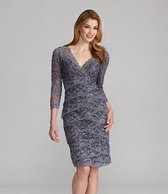 Available at Dillards.com #Dillards sauce: http://www.dillards.com/product/Marina-VNeck-Lace-Dress_301_-1_301_503465980?df=03907578_zi_gunmetal&categoryId=604015&scrollTop=169