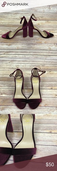 VINCE CAMUTO burgundy velvet strappy heels Beautiful and elegant Velvet burgundy heels  Strappy heels with chunky heel  Excellent condition  Never been worn  I am willing to ⬇️  the price,  like ❤️ the product and or leave me a comment! Vince Camuto Shoes Heels