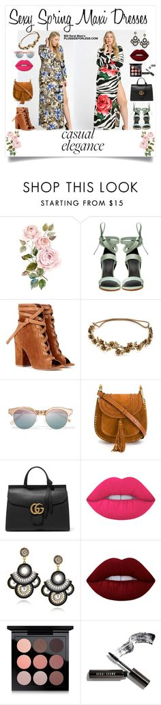 """""""Sexy Spring Maxi dresses"""" by plussizeforless ❤ liked on Polyvore featuring TIBI, Gianvito Rossi, Jennifer Behr, Le Specs, Chloé, Gucci, Lime Crime, MAC Cosmetics, Bobbi Brown Cosmetics and plussize"""