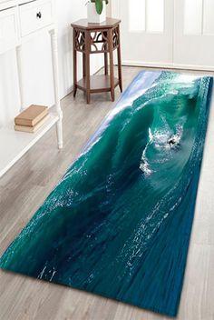 Water Absorption Flannel Surfing Print Bathroom Rug