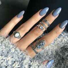 Blue grey acrylic nails More