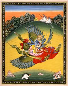 Vishnu with Lakshmi on His Mount the Great Bird Garuda