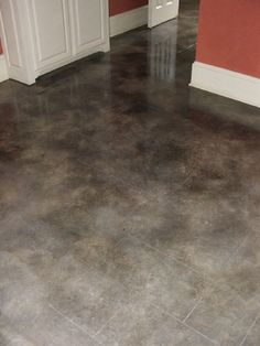 Grey Concrete Stain Acid stained concrete - gray