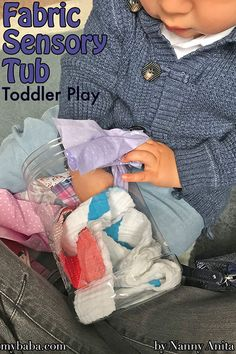 fabric sensory tub - a cheap and easy activity for toddlers and babies. Sensory Bins, Sensory Play, Infant Activities, Educational Activities, Toddler Play, Tub, Toddlers, Babies, Grandkids