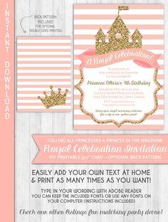 Printable princess invitation cards birthday party ideas princess invitations princess party invitation gold glitter blush pink princess birthday party royal baby shower by stopboris Gallery