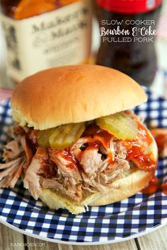 Slow Cooker Bourbon and Coke Pulled Pork - only 4 ingredients! Pork shoulder, bbq seasoning, Coke and bourbon. This was CRAZY good! We served this on buns with some bbq sauce and pickles. Would also be good on nachos or on top of a salad! Slow Cooked Meals, Crock Pot Slow Cooker, Slow Cooker Recipes, Crockpot Recipes, Cooking Recipes, Slow Cooking, Crockpot Dishes, Fun Recipes, Roast Recipes