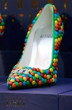 Image: Stuart Weitzman (© Brian Snyder/Reuters)Stuart Weitzman decorated these whimsical shoes with crystals and M candies. Funny Shoes, Cute Shoes, Me Too Shoes, Stuart Weitzman, Most Expensive Shoes, Shoe Boots, Shoes Heels, High Heels, Unique Shoes