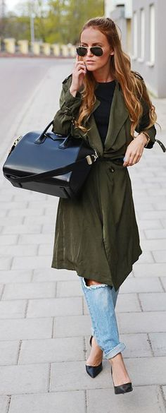 Khaki Trench Outfit Idea by By Kiki