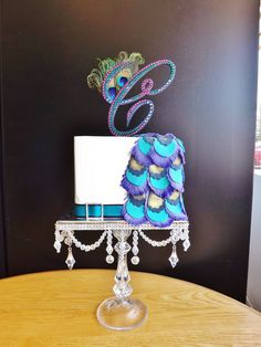 Rhinestone Peacock Theme Wedding Cake Topper Monogram via Etsy