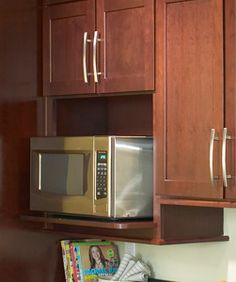My Scrapbook | Shenandoah Cabinetry Built In Microwave Cabinet, Oven Cabinet, Microwave In Kitchen, Hidden Kitchen, Microwave Oven, Lowes Kitchen Cabinets, Kitchen Cabinet Interior, Kitchen Cabinet Layout, Kitchen Decor