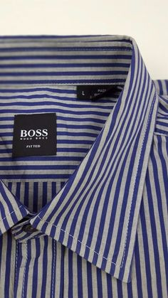 d6a58089c HUGO Boss LARGE Shirt STRIPED Multicolor GRAY Blue MENS Size FITTED Slim SZ  Man