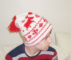 Items similar to Knitted Deer Reindeer Hat Men Women Winter Beanie Hand Knit Gifts White and Red on Etsy Knit Hat For Men, Hat For Man, Holiday Hats, Christmas Hat, Winter Hats For Men, Hats For Women, Fair Isle Knitting, Hand Knitting, Reindeer Hat