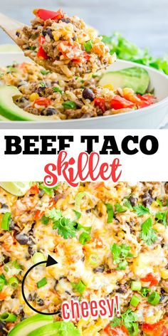 Taco night just got even easier! This one-pan Beef Taco Skillet is full of flavorful ground beef, Mexican cheese and colorful peppers. Garnish with your favorite taco toppings and dinner's ready--no tortillas necessary. Healthy Dinner Recipes, Mexican Food Recipes, Ethnic Recipes, Mexican Dishes, Sweets Recipes, Taco Skillet Recipe, Mango Guacamole, Veal Recipes, Mexican Cheese