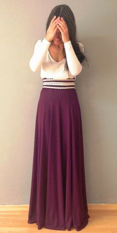 I love the long violet skirt