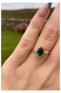 Green Engagement Rings, Pear Shaped Engagement Rings, Teardrop Engagement Rings, Pear Shaped Rings, Green Sapphire Engagement Ring, Green Emerald Ring, Victorian Engagement Rings, Pear Shaped Diamond, Engagement Ring Styles