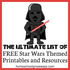 Homeschool Giveaways has a FREE huge list of Star Wars themed printables and learning resources. There are 50+ resources, activities, and more. So be sure t
