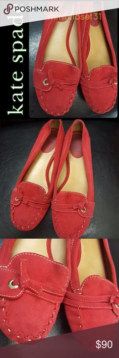 Kate Spade NY Suede Leather Loafers Kate Spade New York Signature Shoes in Gorgeous Red Suede! Features a Loafers Slip On style with Contrast Stitching Details! Round Toe with Silver Tone Hardware on Vamp! Great Pair Anytime to Go With!  Made in Brazil! Softly Padded Footbed with Leather Lining and upper! Rubber Outsole! Used with Wear from Use on Bottom Heel, Lots Life Left! Size US 9M! kate spade Shoes Flats & Loafers