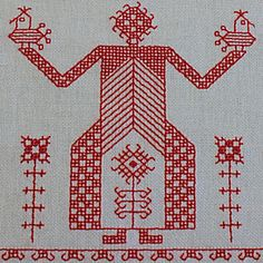 Europe - Russia/Karelia (Weps): embroidery / Christine Ober Kasuti Embroidery, Russian Embroidery, Folk Embroidery, Vintage Embroidery, Embroidery Patterns, Old Symbols, Embroidery Techniques, Blackwork, Handicraft