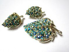 Vintage Blue Green Aurora Borealis Rhinestone by SoBejeweled, $30.00