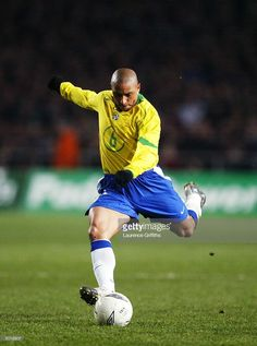Roberto Carlos of Brazil powers home a shot at goal during the International Friendly match between Republic of Ireland and Brazil held on February 18, 2004 at Lansdowne Road, in Dublin, Ireland. The match ended in a 0-0 draw.