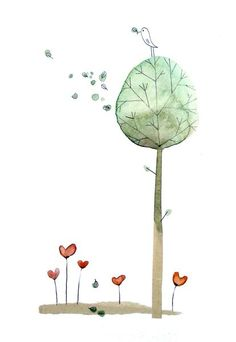 tree, aquarelle cécile hudrisier  heart plants bird