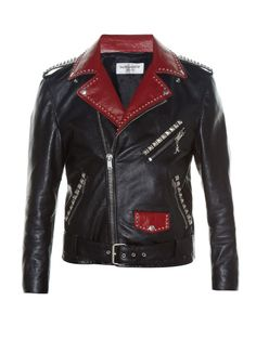 SAINT LAURENT Studded Bi-Colour Leather Biker Jacket. #saintlaurent #cloth #jacket