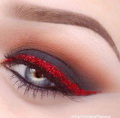 matte black with red glitter liner eye makeup