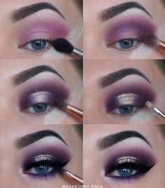 Eye Make-up - Purple Eyeshadow Tutorial Purple Eye Makeup, Glitter Eye Makeup, Natural Eye Makeup, Eye Makeup Tips, Makeup Hacks, Smokey Eye Makeup, Makeup Inspo, Eyeshadow Makeup, Makeup Ideas