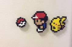 Perler beads ash Ketchum Pikachu pokeball Pokémon by OddsAndEndsFL Hama Beads Pokemon, Pokemon Craft, Diy Perler Beads, Pearler Beads, Perler Bead Templates, Pearler Bead Patterns, Perler Patterns, Pixel Beads, Fuse Beads