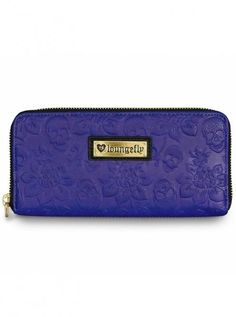 """""""Skull Rose"""" Embossed Wallet by Loungefly (Blue)"""