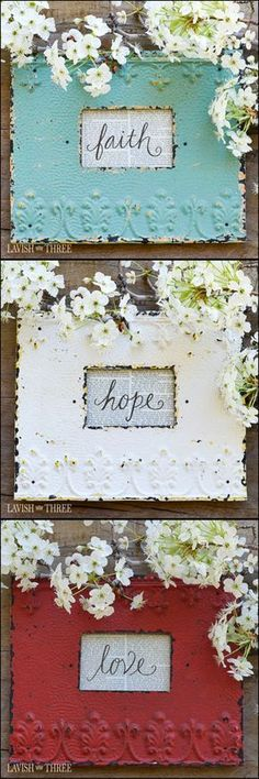 "The shabby chic feel and look of these embossed metal frames add a touch of ""home sweet home"" appeal to any space. The bold yet washed out colors partnered with the stand-out textures make an unforgettable impression. We adore the charm of the little space provided to display just a hint of nature, a small photograph, or a sweet memento. #MetalBuildings"