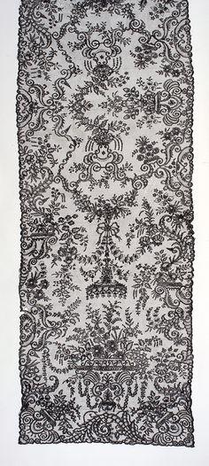 Long stole of black bobbin lace, grenadine silk. Possibly Buckinghamshire 'Point', English, 1860s